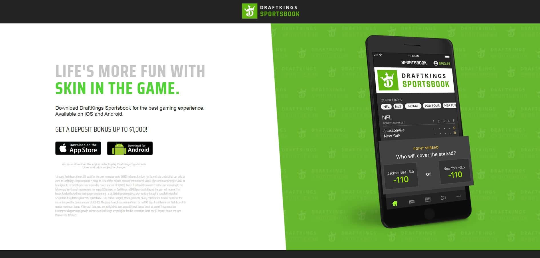 DraftKings sportbook home-min